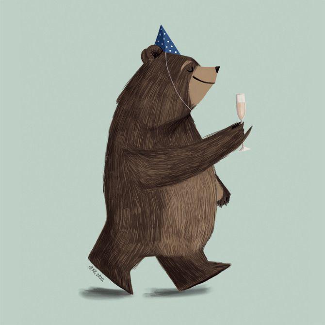 Champagne Bear by Pencil Pocket. Image via Pinterest.