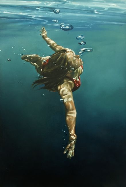 Swimming girl [title unknown] by Eric Zener, via Pinterest.